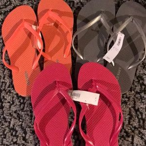 3 pairs of New with tags flip flops